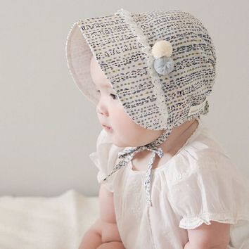 Baby Girls Bonnet Retro Beanie Hat Infant Chapeau Nordic Vintage Lace Toddler Bonnet Christening Baptism Cap Cotton 1pc H834