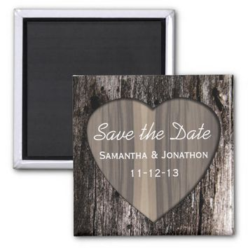 Rustic Wood Tree Bark Heart Wedding Save the Date 2 Inch Square Magnet