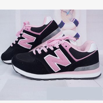 New balance abric is breathable n leisure sports shoes women's shoes Couples forrest gump students running Black-pink