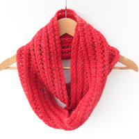 Red Snood - Chunky Womens Cowl - hand knit lace - woolly winter accessory
