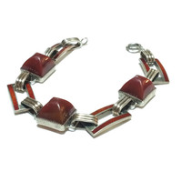 Vintage Art Deco Sterling Silver Bracelet, Sugarloaf Carnelian Cabs and Red Guilloche Enamel Links, 1920s