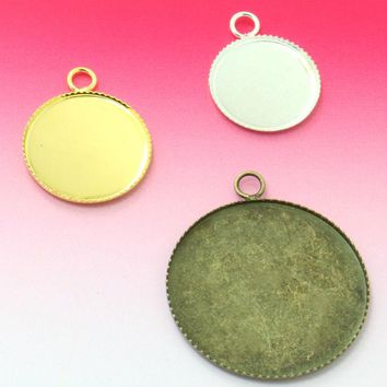 20pcs 12mm Drop Pendant Blank with Teeth Bezel Setting Tray for Cameo DIY Cabochon,Gold / Silver-Plated/ Antique Bronze