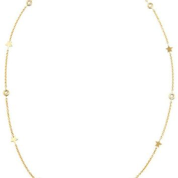 ICIKIN3 Luis Miguel Howard 18k Gold Stars and Diamond Necklace