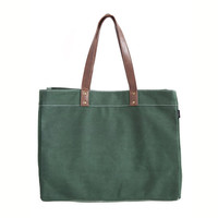 Waxed Moss Canvas Carryall