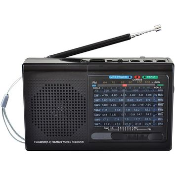 Supersonic 9-band Rechargeable Bluetooth Radio With Usb And Sd Card Input (black)