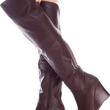 BROWN SIDE ZIPPER FAUX LEATHER MATERIAL OVER THE KNEE WEDGE BOOTS