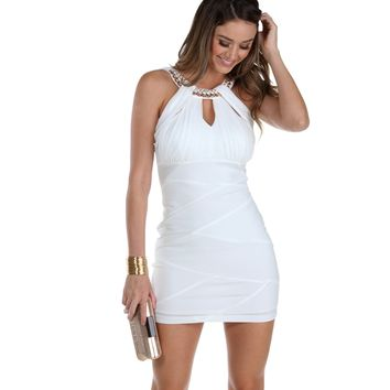 Promo-ivory Crushin On You Bodycon Dress