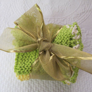 Knit Dishcloth/Washcloth/Dish Rag/Wash Rag Set of three Made with 100% Cotton Yarn in  Green's And Yellow Ready to ship