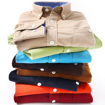 Fashion Brand Retro Long Sleeve Men's Corduroy Shirts Plus Size 4XL,5XL 42 44 43 Navy Brown Wine Red Orange Green Candy Color