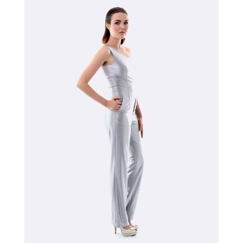 Silver One Shoulder Tailored Jumpsuit