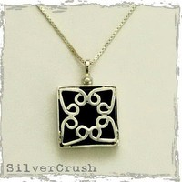 Square sterling silver pendant with Celtic design by silvercrush