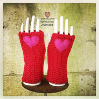 Crochet Arm/Hand Warmers with Felt Heart~Ready to Ship~FREE SHIPPING