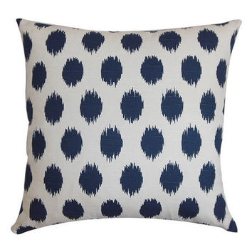 18x18 Navy Blue Cotton Ikat Dot Decorative Pillow Cover