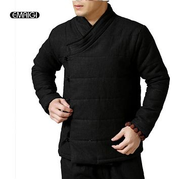 New Men Cotton Padded Parka Jacket Winter Linen Cotton Coat Men Chinese Style Warm Fashion Casual Jacket Overcoat Q393