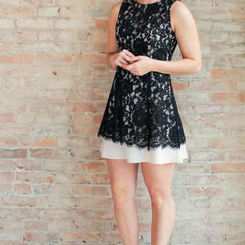 Nyla Fit and Flare Lace Dress - Black
