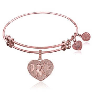 Expandable Bangle in Pink Tone Brass with Betty Boop Love Symbol