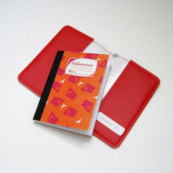 Vinyl Book Cover for Mini Composition Notebook, Sitting Kitten Design, red matte vinyl and silver polka dot oilcloth