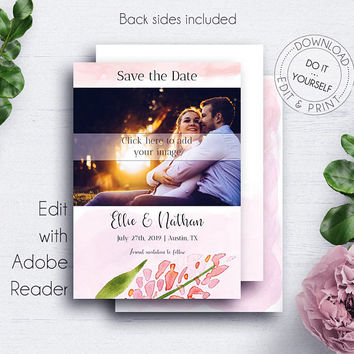 Blush Wedding Save Date Photocard, Wedding Invitation Template Download, Photocard Template, Wedding Cards, Save the Dates, Engagement Card