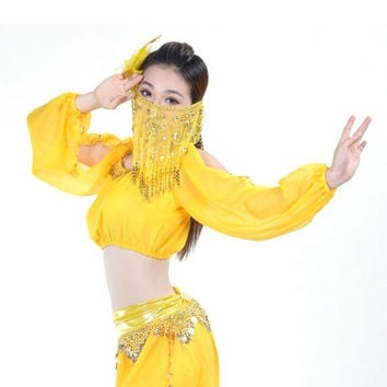 Belly Dance Costume Handmade Gold Coins Padded Top Bra Lantern Long Sleeve Shirt