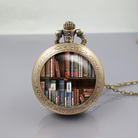 Bookshelf Pocket Watch Locket Necklace,Book library Books Lovers author,vintage pendant Pocket Watch Locket Necklace
