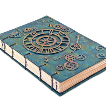 Celtic Steampunk Inspired Mixed Media Exposed Binding Coptic Bound Journal