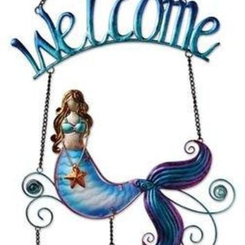 Sunset Vista Designs Metal and Glass Mermaid Welcome Sign
