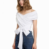 WHITE WRAP OFF THE SHOULDER SHIRT