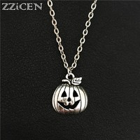 New Vintage Fancy Gothic Halloween Party Gifts Super Fashion Jewelry Antique Silver Pumpkin Head Pendant Creative Plant Necklace