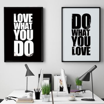 Love What You Do Motivational Inspirational Canvas - Print Wall Art Decor Quote