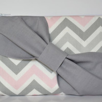 Bridesmaid Clutch Pouch Cosmetic Case MakeUp Bag Accessory Pouch Zippered Grey,White & Pink Chevron with Grey Diagonal Bow