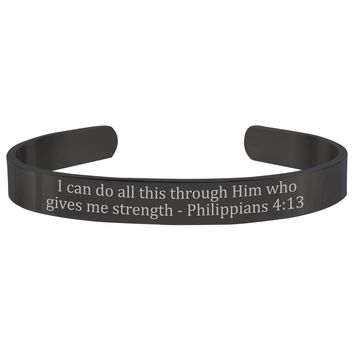 8MM Solid Stainless Steel Scripture Cuffs  -  Philippians 4:13