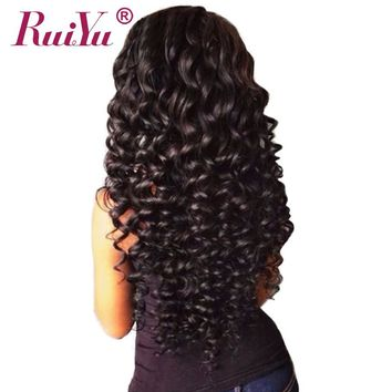 RUIYU Human Hair Bundles Deep Wave Brazilian Hair Weave Bundles Natural Color Non Remy Hair Extensions Can Buy 3 Or 4 Bundles