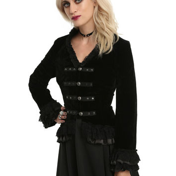 Black Velvet Lace Up Ruffle Bodice Girls Jacket