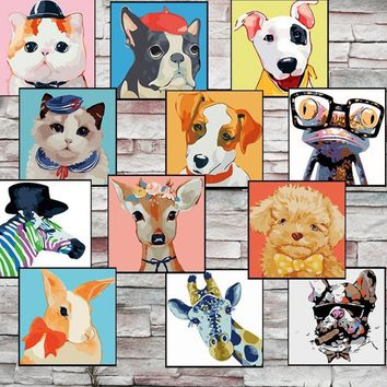 Cute Animals DIY Oil Painting By Numbers Kits Wall Art Picture Home Decor Digital Cats Dogs Painting On Cotton Cloth For Artwork