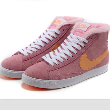 NIKE Women Men Running Sport Casual Shoes Sneakers high tops Plush shoes Pink