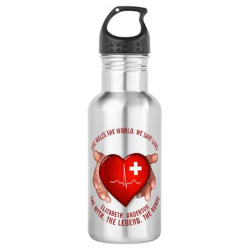 Registered Nurse With Red Heart In Hands Stainless Steel Water Bottle
