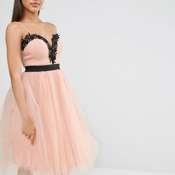 Rare London Lace Top Tulle Dress at asos.com