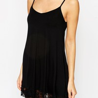 ASOS PETITE Cami Swing Dress With Lace Hem