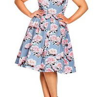City Chic 'Powder Posey' Floral Print V-Neck Fit & Flare Dress (Plus Size)   Nordstrom