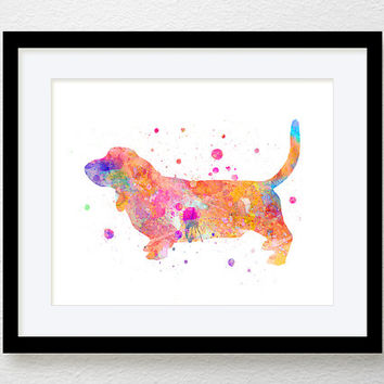 Watercolor Basset Hound, Basset Hound Art, Basset Hound Print, Basset Hound Painting, Dog Wall Art, Dog Lover Gift, Watercolor Art