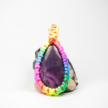 Rainbow Macrame Pendant, Purple Agate Pendant, Rainbow Pendant, Colorful Necklace, Psychedelic Jewelry, Psychedelic Gifts, Gifts for teens