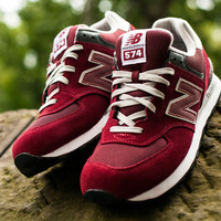 Shoes - Men - Running - New Balance 574 - Burgundy - DTLR - Down Town Locker Room. Your Fashion, Your Lifestyle! Shop Sneakers, Boots, Basketball shoes and more from Nike, Jordan, Timberland and New Balance