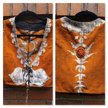 Vintage Batik Vest, Beaded, Lace up, Handmade, Corduroy, 60s 70s Hippie, Festival, Boho, Cropped, Brown, Orange