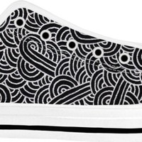 Faux silver and black swirls doodles White Low Tops