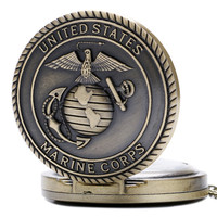United States Marine Corps Men's Retro Bronze Fashion Quartz Pocket Watch