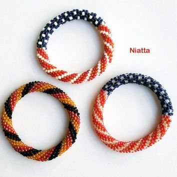Flag Bracelet Roll On Bracelet Beadwork Bracelet Beaded Bangle Crochet Rope Gift For Her Niatta