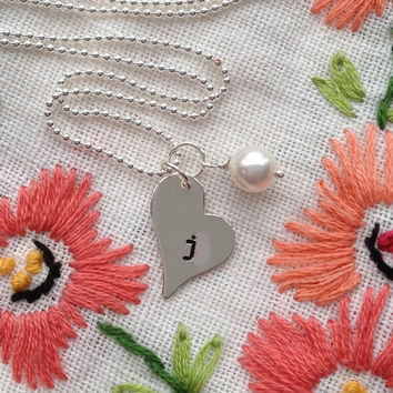 Initial Necklace Valentines Necklace Heart Hand Stamped Engraved Custom Letter Sterling Silver Charm Necklace with Birthstone by RedHorses