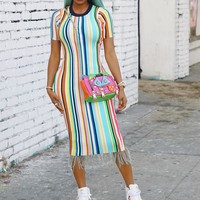 Fashion Sexy Night Club Short Sleeve Dresses with Stripes and tassels