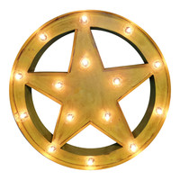 Sheriff Star Symbol Marquee Sign Light