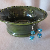 Dark Green Earring Holder with Leaf Pattern Made From Wheel Thrown Pottery 116